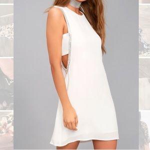 Lulus white rhinestone open side shift dress